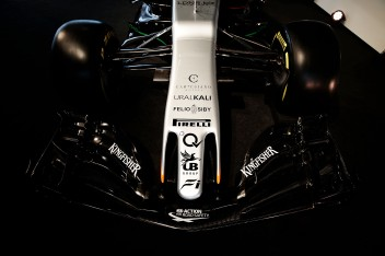 Sahara Force India F1 VJM10 front wing. Sahara Force India F1 VJM10 Launch, Wednesday 22nd February 2017. Silverstone, England.