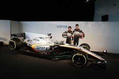 (L to R): Sergio Perez (MEX) Sahara Force India F1 and team mate Esteban Ocon (FRA) Sahara Force India F1 Team with the Sahara Force India F1 VJM10. Sahara Force India F1 VJM10 Launch, Wednesday 22nd February 2017. Silverstone, England.