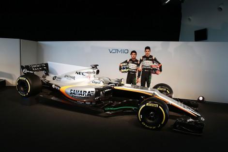 (L to R): Sergio Perez (MEX) Sahara Force India F1 and team mate Esteban Ocon (FRA) Sahara Force India F1 Team with the Sahara Force India F1 VJM10. Sahara Force India F1 VJM10 Launch, Wednesday 22nd February 2017. Silverstone, England.