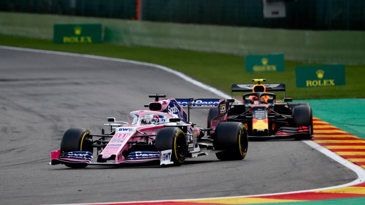 Sergio Perez, Racing Point RP19 and Pierre Gasly, Toro Rosso STR14