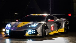 Chevrolet's first mid-engine GTLM race car - the Corvette C8.R - makes a surprise debut Wednesday, October 2, 2019 at the Kennedy Space Center in Cape Canaveral, Florida. The C8.R will make its racing debut at Rolex 24 at Daytona in January 2020. The C8.R No. 4 car dons a new silver livery, inspired by the color of iconic Corvette concepts such as the 1973 Chevrolet Aerovette and the 1959 Corvette Stingray Racer. (Photo by Steve Fecht for Chevrolet)