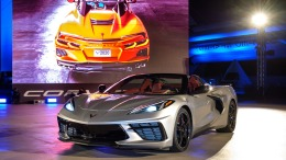 The 2020 Corvette Stingray hardtop convertible is unveiled Wednesday, October 2, 2019 at the Kennedy Space Center in Cape Canaveral, Florida. The Corvette Stingray convertible is the first hardtop and mid-engine convertible in Corvette history. The hardtop convertible offers the same storage as the Corvette Stingray coupe, even with the top down. The convertible will be priced only $7,500 (U.S.) more than the entry 1LT Stingray coupe. (Photo by Steve Fecht for Chevrolet)