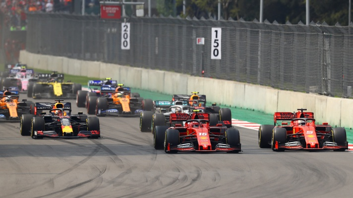 Sebastian Vettel, Charles Leclerc and Max Verstappen
